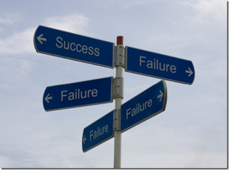 Street sign with Success and Failure pointing in different directions
